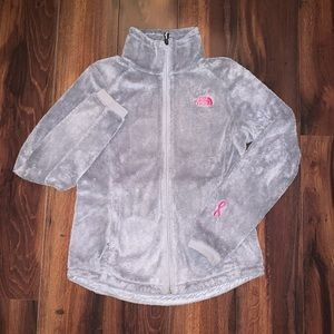 North Face grey and pink Osito jacket